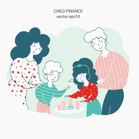 Kids and parents with money flat vector illustration Vetores