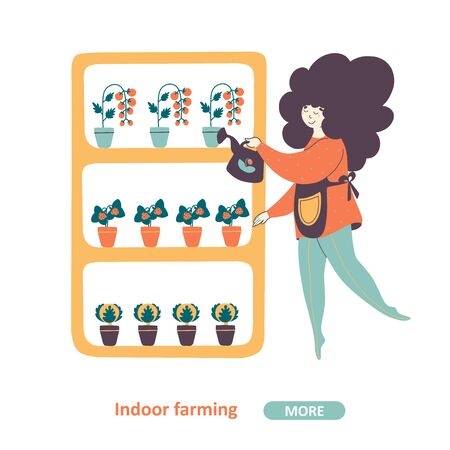 Indoor farming and horticulture industry vector landing page template. Woman, housewife watering plants cartoon character. Young lady enjoying trendy hobby, domestic vegetables and berries cultivation