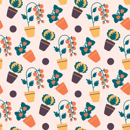 Indoor potted vegetables and berries vector seamless pattern