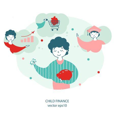 Child finance, money saving flat vector illustration