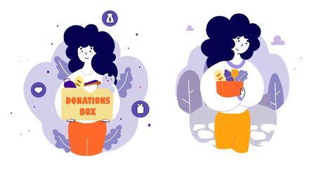 Charity organization activists at work flat vector illustrations set