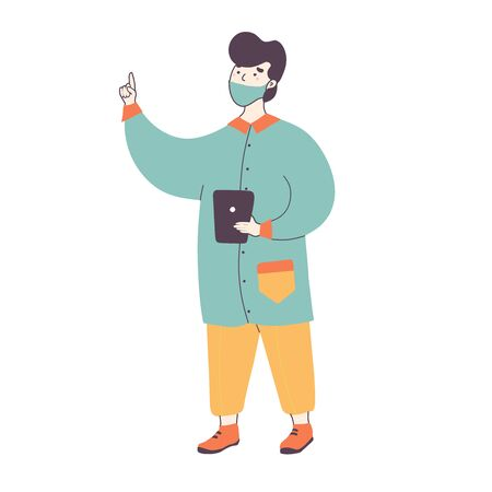 Laboratory worker in mask flat vector illustration