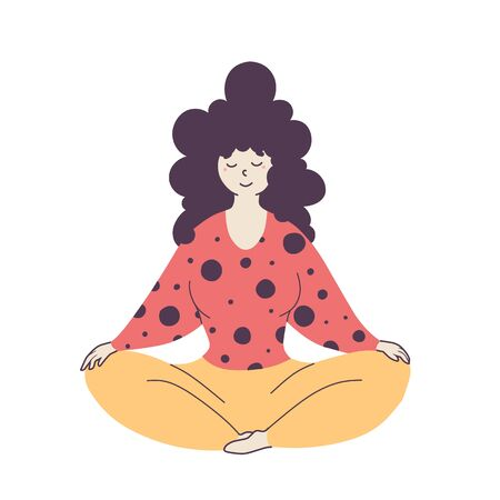 Relaxed woman sitting in lotus pose flat vector illustration