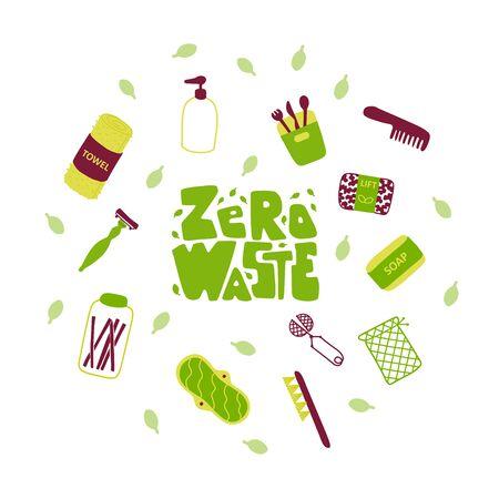 Eco friendly lifestyle accessories flat vector illustration Ilustração