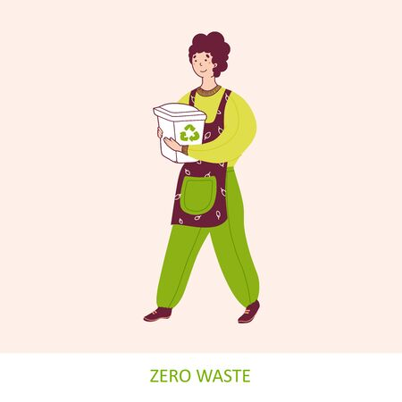 Waste management, sustainable lifestyle flat vector illustration. Man carrying recycling bin cartoon character.