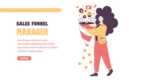 Sales funnel manager flat vector landing page template
