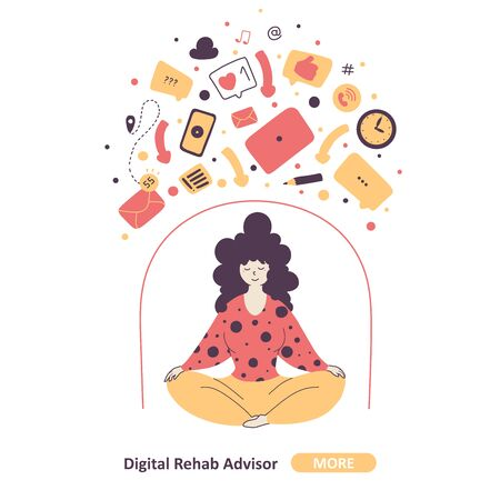 Gadgets detox program concept flat vector illustration