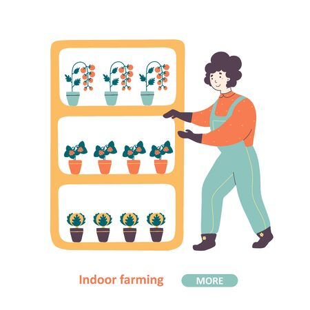 Indoor farming and horticulture industry vector landing page template