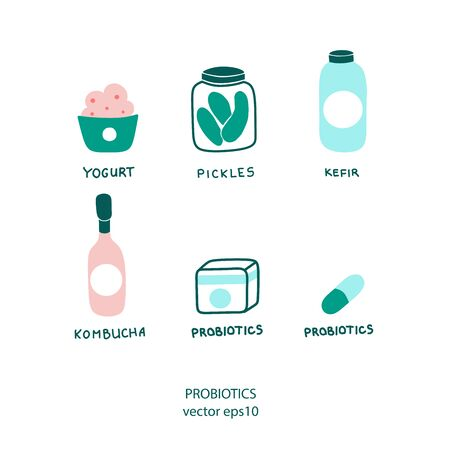 Probiotics icon, great design for any purposes. Healthy nutrition set.