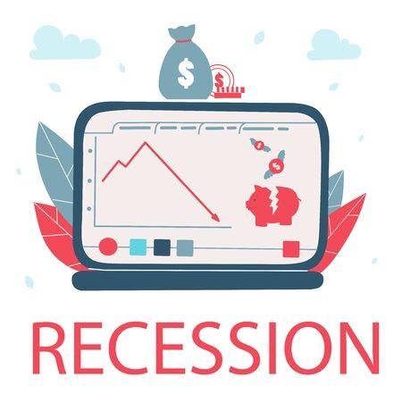 Recession chart, Cartoon flat vector illustration. Decrease graph stock market