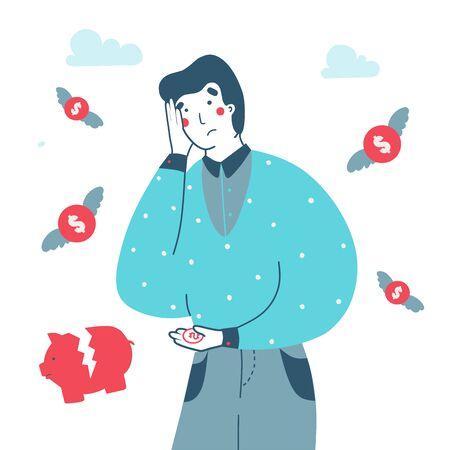 Money loss bankruptcy man. Concept business vector flat illustration. Lost money concept cartoon vector illustration. Business, financial illustration.