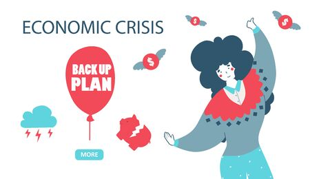 Economic crisis back up plan cartoon flat vector illustration. Decrease graph. Downward arrow. Business concept Girl with ball Financial savings. Vector graphic .
