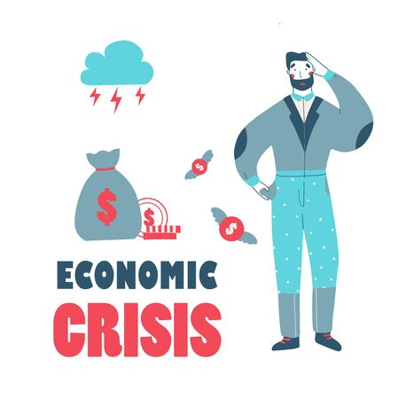 Bankrupt businessman character flat cartoon vector illustration landing page template
