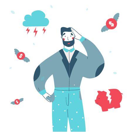 Bankrupt businessman character flat cartoon vector illustration. Economic crisis, business bankruptcy. Vector design illustration. Cartoon man character. 向量圖像