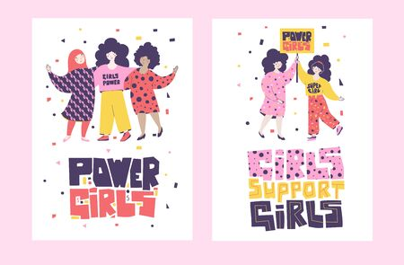 Young girls hold a banner, support each other, unite in the struggle for rights. International women day. Girl power cartoon character. Human character vector. Flat style vector illustration.