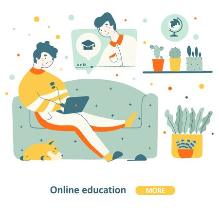 Education course home flat graphic design. Business seminar online concept. Education on couch - vector concept.