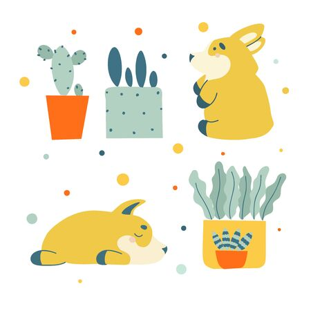 Flat set with happy small dog corgi, green cactuses. Love vector illustration. Graphic vector art. Cute kawaii funny cartoon character. Love print.