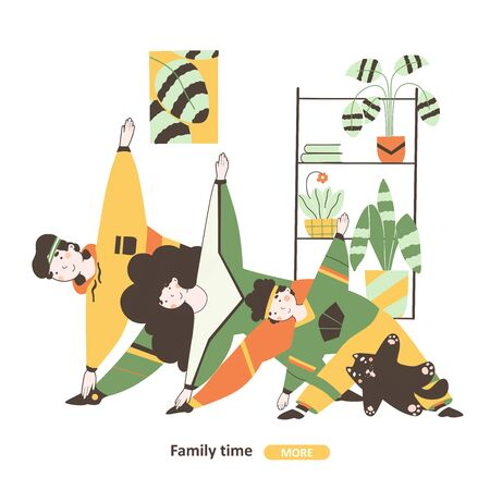 Family time isolation, flat vector illustration. Family sport at home cartoon illustration. Home comfort clipart vector illustration. Vettoriali