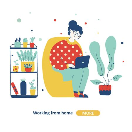 Elderly woman works from home flat Vector isolated illustration. Home quarantine illustration. Flat cartoon vector illustration. Vector graphic. Business person.