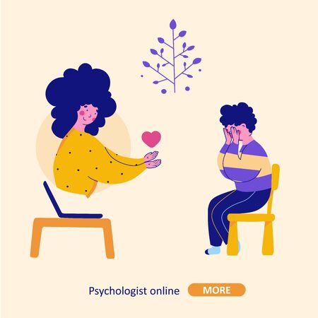 Psychological help online, child support, bullying, cartoon flat vector illustration. Psychoanalysis, psychotherapy concept. Isolated flat vector illustration.
