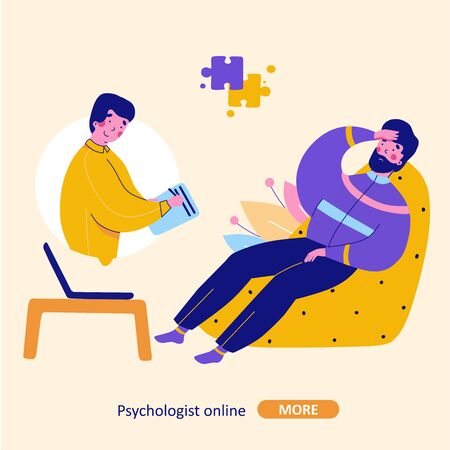 Modern psychotherapy, vector flat cartoon illustration. Psychologist online Modern flat design concept. Man supports man communication concept.