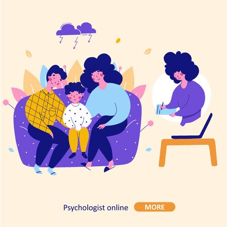 Family with child consultation with psychologist online, vector flat cartoon illustration. Mental child health problem, Isolated illustration. Illustration