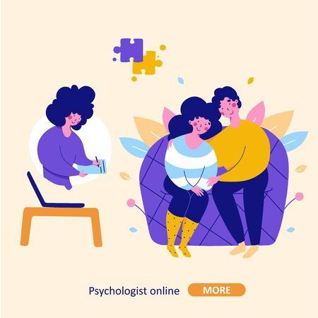 Modern family psychotherapy, vector flat cartoon illustration. Psychologist online Modern flat design concept. Intra family conflict communication concept.
