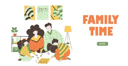 Family time isolation, flat vector landing page template. Board games cartoon illustration.