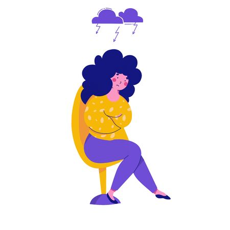 Frustrated girl, anger, melancholy sadness, cartoon flat vector illustration. Woman offended, psychological problems.