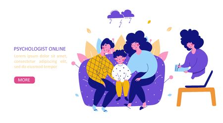 Family with child consultation with psychologist online, flat vector landing page template