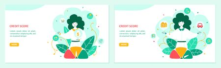 Banking landing page flat vector template set. Financial operations website layout. Credit score, consumer, car and apartment loan. Money borrowing. Bank workers cartoon characters