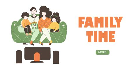 Cartoon illustration with family watching movie flat vector cartoon illustration. Home house interior design for lifestyle design. Flat happy family watching tv vector design.