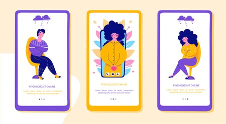 Modern family psychotherapy, flatmobile app page screens set. Psychologist online Modern flat design concept. Intra family conflict communication concept.