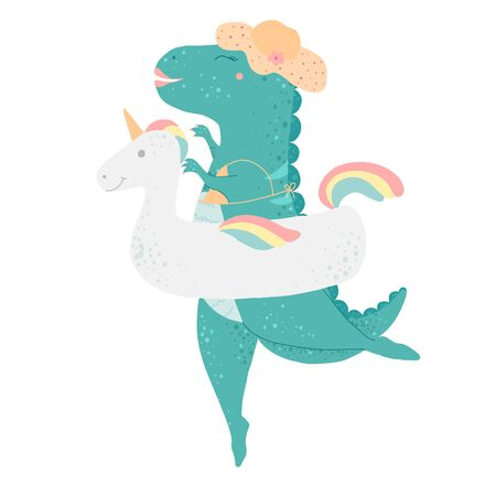 Dinosaur baby girl, cute print. Sweet dino ballerina with ballet tutu, pointe shoes, hearts. Cool animal illustration for nursery t-shirt, kids apparel, birthday card, invitation. Simple child design