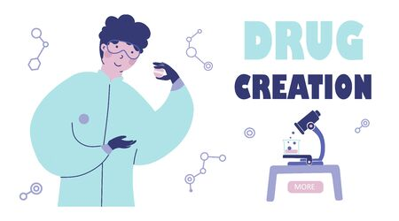 Chemical laboratory research, Flat vector character illustration. 일러스트