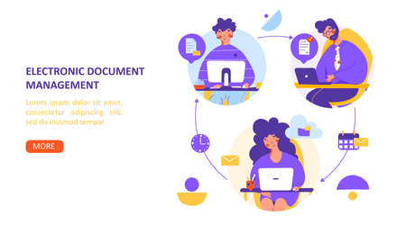 Remote office electronic document flat vector landing page template. Digital communication. Illustration