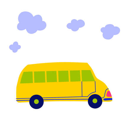 School bus in cartoon style Vector flat cartoon illustration.