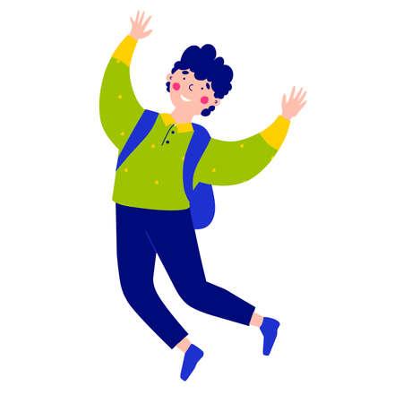 Cartoon character school boy. Cartoon vector illustration. Ilustração