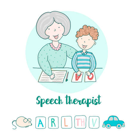 Speech Therapy Concept. Friendly speech and articulation classes Vettoriali