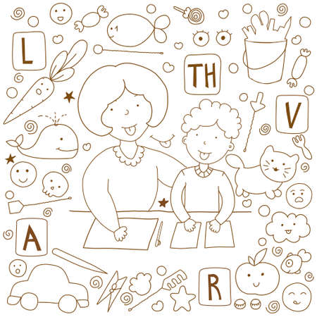 Concept speech therapy. Doodle illustration. Classes with speech therapist and cute icons on the topic.