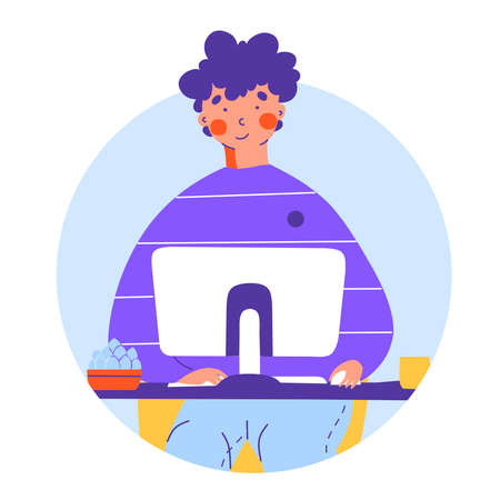 Work from home with smartphone app, flat vector cartoon style. Business concept.