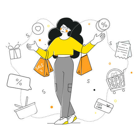 Shopping, discounts and sales, womens shopping, flat vector illustration.