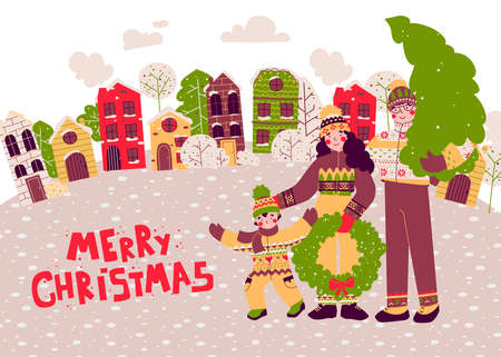 Cartoon christmas Happy family, flat people vector illustration card. City illustration.