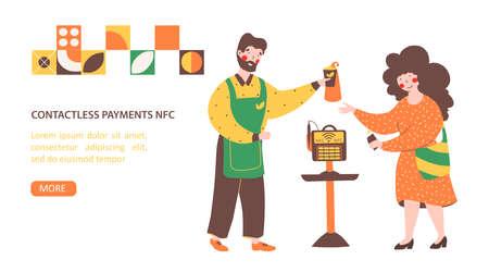 Nfc payment, flat vector landing page template. Money transfer. 矢量图像