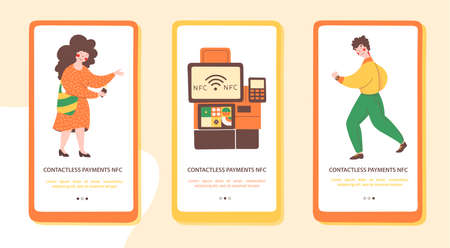 Payment terminal nfc, flat onboarding mobile app page screen template. Safe payment. Man pays for the purchase with mobile hours. 矢量图像