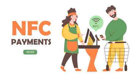 NFC - Contactless payment, flat vector landing page template. . Payment from smartphone, paypass technology.