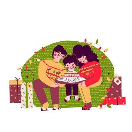 Christmas family evening, reading books, Cartoon vector people illustration. Stock Illustratie