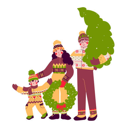 Happy Christmas family, preparation for holiday, flat vector illustration