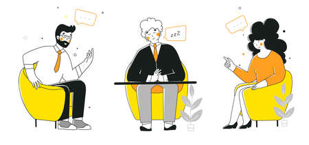 Business negotiation, conversation, flat vector illustration. Business people talking at table.
