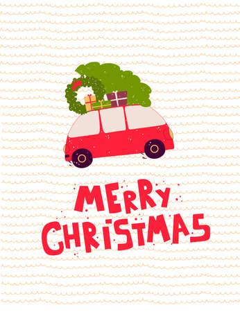 Cartoon family car christmas gifts, Vector illustration banner, card, postcard.